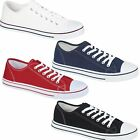 Womens Girls Ladies Flat Canvas Lace Up Plimsolls Pumps Skater Casual Trainers