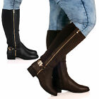 NEW WOMENS LADIES KNEE HIGH WIDE-CALF GOLD DETAIL ZIP UP RIDING BOOTS SHOES SIZE