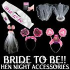 BRIDE TO BE HEN NIGHT ACCESSORIES - Flashing Sash/Garter/L Plate/Tiara/ Boppers