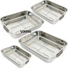 ROASTING TRAY OVEN PAN DISH BAKING ROASTER TIN GRILL STAINLESS STEEL 4 SIZE