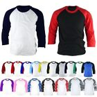 Mens Womens 3/4 Sleeve Raglan Baseball Tshirts Jersey Casual Vintage Top Tee