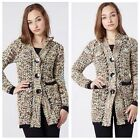 NEW LADIES LONG HOODED BOBBLE KNIT CARDIGAN WOMENS CHUNKY KNITTED SIZE 8 - 16