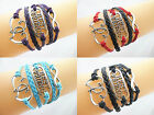 New BEST FRIEND,Double Hearts, Infinity Silver Charms Braided Leather Bracelet
