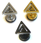 Mens Triangle Spiral Surgical Stainless Steel Faker Tunnel Stretcher Stud
