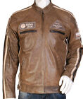 Mens heeli leather jacket with badges brown tan motorcycle motorbike