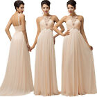 2015 STOCK Long Wedding Guest Evening Ball Gown Prom Formal Bridesmaid Dresses