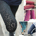 Womens Sexy Leggings Floral Pleuche Hollow Pantynose Slim Tights Pants 5 Colors
