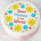 "Mothers Day Cake Topper - Best Mummy Cake Decoration - 7.5"" Round Icing or Wafer"