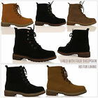 New Womens Ladies Flat Desert Lace Up Ankle Thick Sole Military Boots Shoes Size