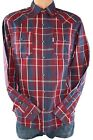 Levis Jeans Modern Fit Biking Red/Blue Plaid New Men Western Pearl Snap Up Shirt