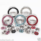 Pick Round Rhinestone CZ Gem Staniless Steel Ear Expander Plugs Tunnel Earlets