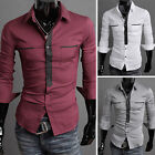 MALE Collection 2014 Men's Slim Fit Business Stand Collared Blouse Button Shirt