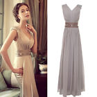 Red/Grey Womens Long Wedding Maxi Gown Cocktail Evening Prom Party Chiffon Dress