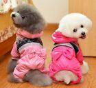 Bow Padded Hooded Coat Jumpsuit Cat Small dog Clothes dog Costume XS S M L XL