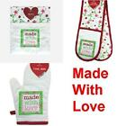 MADE WITH LOVE DOUBLE OVEN GLOVE SINGLE OVEN GLOVE OR COOKING APRON FLORAL