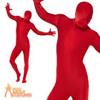 Adult Red Second Skin Red Stag Party Full Body Lycra Fancy Dress Costume