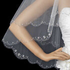 White or Ivory Double Layer Crystal Beaded Fingertip Wedding Bridal Veil