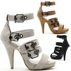 925 Women's Comfort Triple Buckle Straps Heeled Zip Sandals Size UK 3-8 EU 36-41