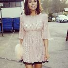 LOVE PEACH POLKA DOT WOVEN DRESS WITH LACE TRIM SKIRT TOWIE 8 10 12 14