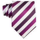 Mens Classic Ties UK Purple Striped Excellent Quality Neckties Sets Boxed