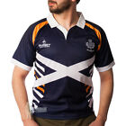 MEN'S SHORT SLEEVE COTTON COLLAR SCOTLAND SALTIRE RUGBY SHIRT - NAVY - SIZES!