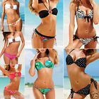 Sexy Womens Push Up Crystal Swimwear Beachwear Bikini Padded Swimsuit S M L XL