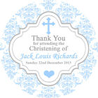 1x A4 sheet Personalised CHRISTENING BAPTISM favours labels stickers Damask boy
