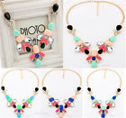 Fashion Shining Metal Droplet Crystal Gemstone Vintage Chunky Necklace Statement