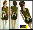 WOMENS NEW LADIES FACE PRINT BRUSH FABRIC KNITTED TUNIC DRESS TOP SIZE / 8-14