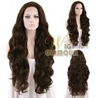 "Long Curly 28"" Brown Lace Front Synthetic Wig Heat OK"