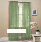 "SOLID GROMMET FAUX SILK WINDOW CURTAIN DROPES PANEL 63"" LENGTH SHORT"