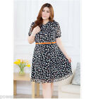 New Large Size Lady Casual Black Print Stand Collar Short Sleeve Chiffon Dress