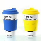 I'm not a paper cup Thermal Insulated Ceramic Travel Eco Cup Mug Silicone Grip