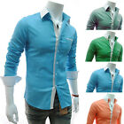 New Mens Luxury Casual Slim Fit Stylish Dress Shirts Long Sleeve 4 Colour 4 Size