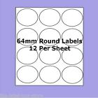 A4 Self Adhesive Labels ~ 64mm Round Circle Labels ~ 12 Labels Per Sheet
