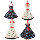 Vintage Halter Style 50s 60s Rockabilly Evening Party Prom Cocktail Pinup Dress