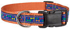 Rainbow Paws And Bones Woven Ribbon on Orange Dog Collar Limited Edition