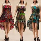 Woman Bohemian Sexy Strap Dress Asymmetric Hem Sundress Flounce Frill  E0Xc