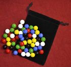 Bright colors! CHINESE CHECKERS MARBLES, 60 pc replacement set, +cloth bag pouch