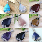 Lady Inlaid Waterdrop Teardrop Flower Foral Pendant Gemstone Bead For Necklace