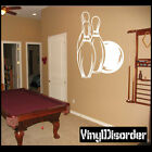 Ball and Pins Bowling Vinyl Wall Decal or Car Sticker - MC009