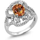 3.12 Ct Oval Natural Ecstasy Mystic Topaz 925 Sterling Silver Ring