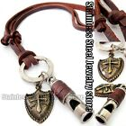 Antique Vintage Whistle Cross Mens Genuine Leather Necklace Charm Pendant Choker