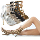 Open Toe Cut Out Lace Up Ankle Bootie Stiletto High Heel Pump Cage Gladiator US