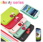 Luxury Cherry Leather Flip Wallet Case Cover For Samsung Galaxy S4 i9500 FYTM