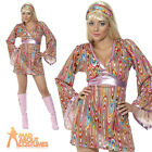 60s 70s Hippy Hottie Costume Hippie Fancy Dress Outfit Ladies Womens New UK 8-18