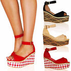 WOMENS SANDALS LADIES SHOES PLATFORMS WEDGES FLATFORMS SUMMER BUCKLE NEW SIZE