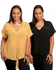 NWT BLACK MUSTARD Sheer FRONT TIE Plus Size TOP XL/1X/2X/3X  FREE SHIPPING