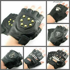 UW31 Punk Manmade Leather Fingerless Pair Glove Scorpion/Skull/Star/Stud Rock
