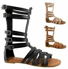 NEW Women's Strappy Gladiator Cage Flat Heel Low Mid Calf High Ankle Sandal Shoe